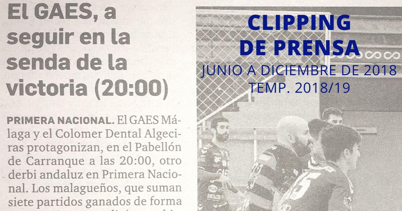 CLIPPING DE PRENSA. TEMP. 2018/19. Junio a diciembre de 2018